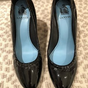 Lambing Black Patent Leather Wedges - Like New!